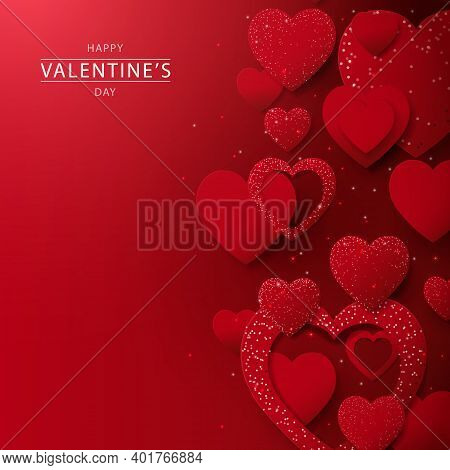 Abstract Red Hearts Glitter Lights Background. Valentines Banner For Wedding Greeting Card. Vector I