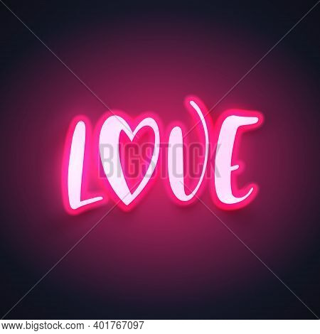 Modern Neon Calligraphy For Valentines Day. Vector Illustration