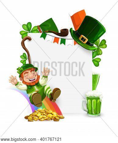 St. Patricks Day Leprechaun Cartoon Vector Frame. Leprechaun Riding On Rainbow With Golden Coins, Gr