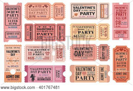 Valentines Day Party Ticket Vector Templates With Love Holiday Cupids, Red Hearts, Arrows And Bows.