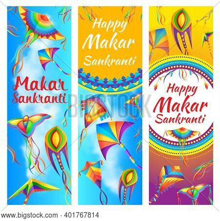 Indian Makar Sankranti Holiday Festival Banners. Color Paper Kites Toys Decorated Ribbons, Flying In