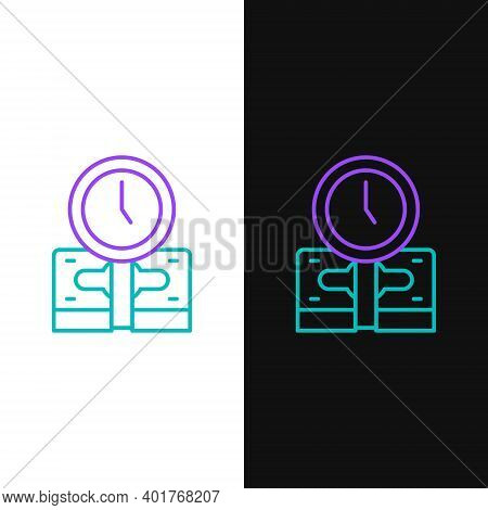 Line Time Is Money Icon Isolated On White And Black Background. Money Is Time. Effective Time Manage
