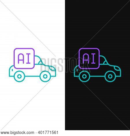 Line Autonomous Artificial Intelligence Smart Car Icon Isolated On White And Black Background. Color