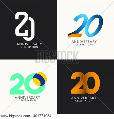 20 Years Anniversary Celebration Compilation Logo Vector Template Design Illustration