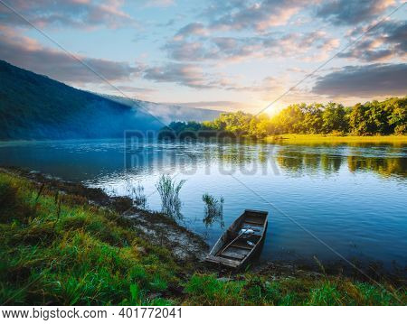 Calm morning scene in summer on the Dniester river. Location place Dnister canyon of Ukraine, Europe. Picturesque photo wallpaper. Nature photography. World landmarks. Discover the beauty of earth.