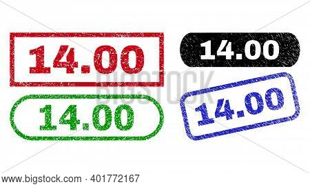 14.00 Grunge Seal Stamps. Flat Vector Distress Seal Stamps With 14.00 Text Inside Different Rectangl