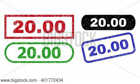 20.00 Grunge Seal Stamps. Flat Vector Grunge Seal Stamps With 20.00 Text Inside Different Rectangle