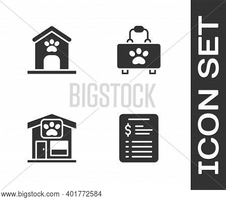 Set Grooming Salon Price List, Dog House And Paw Print, Pet Grooming And First Aid Kit Icon. Vector