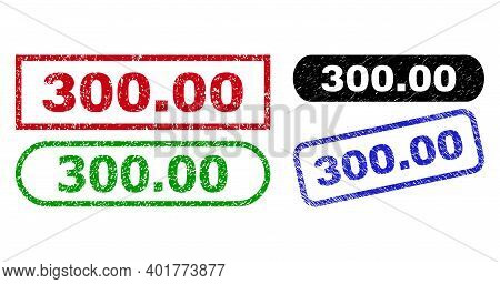 300.00 Grunge Watermarks. Flat Vector Grunge Stamps With 300.00 Text Inside Different Rectangle And