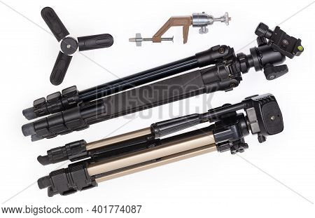Two Different Folded Photographic Tripods With Ball And Pan-tilt Heads, Tabletop Mini Tripod And Old