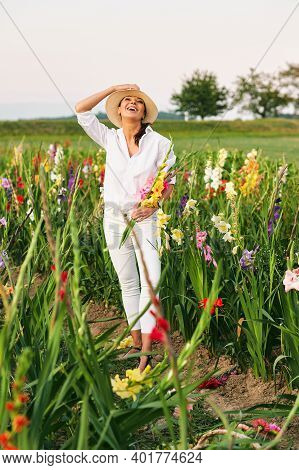 Happy Laughing Woman Cutting Gladiolus On Flower Farm, Hobby And Leisure, Nature Lifestyle