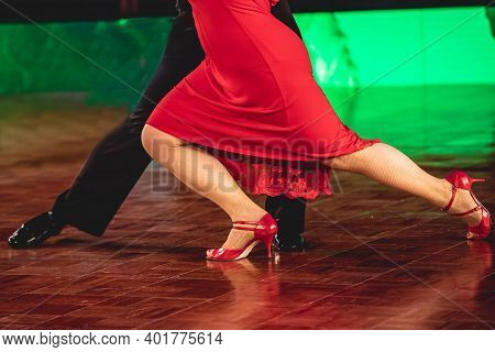 Couple Dancing Original Tango On The Competition