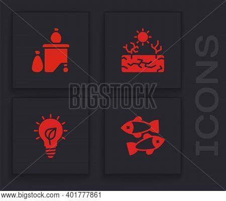 Set Dead Fish, Full Dustbin, Drought And Light Bulb With Leaf Icon. Vector