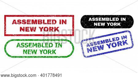 Assembled In New York Grunge Seals. Flat Vector Scratched Seals With Assembled In New York Message I