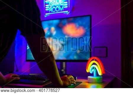 Young Gamer Playing Online.  The Best Game For The Computer. New Technology Game Trends And Entertai