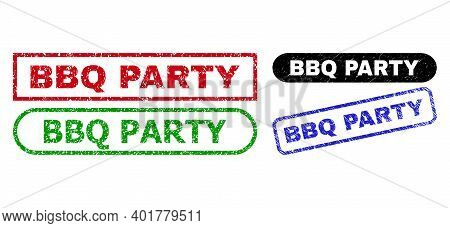 Bbq Party Grunge Watermarks. Flat Vector Distress Watermarks With Bbq Party Slogan Inside Different