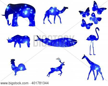 Animal Contour With Glowing Light Particles. Double Exposure Space. Glowing Light. Elephant, Rhino,