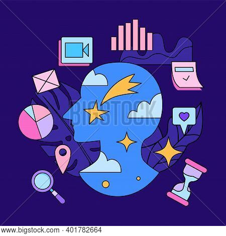 Human Head Silhouette With Stars And Clouds Surrounded By Graphics, Pictogramms And Icons . Creative