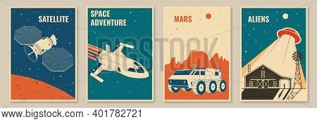 Space Mission Posters, Banners, Flyers. Vector Illustration. Concept For Shirt, Print, Stamp. Vintag