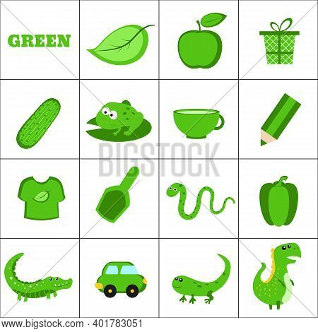 Learn The Color. Green Objects. Education Set. Illustration Of Primary Colors.