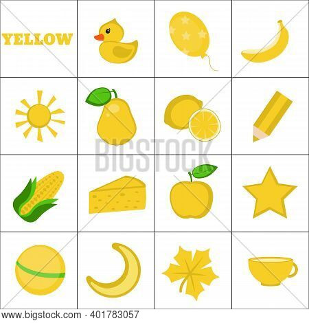 Learn The Color. Yellow Objects. Education Set. Illustration Of Primary Colors.