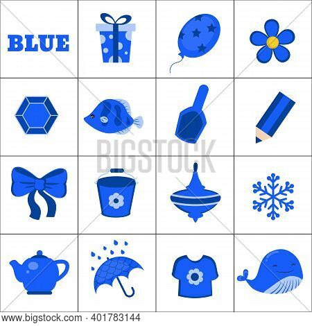 Learn The Color. Dark Blue Objects. Education Set. Illustration Of Primary Colors.