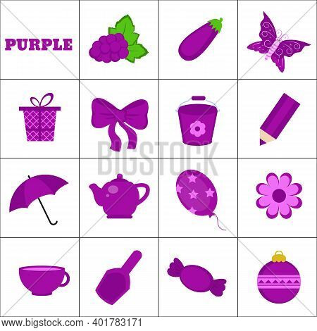 Learn The Color. Purple Objects. Education Set. Illustration Of Primary Colors.