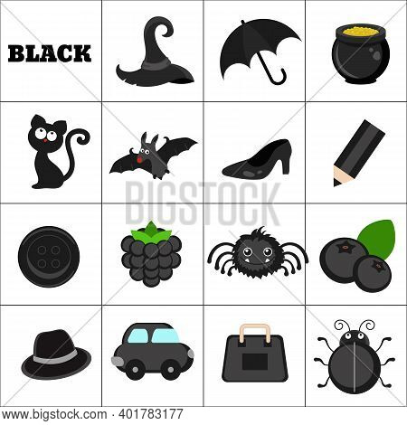 Learn The Color. Black Objects. Education Set. Illustration Of Primary Colors.