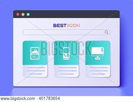 Set Tetris, Card Game And Computer Monitor Screen Icon. Vector