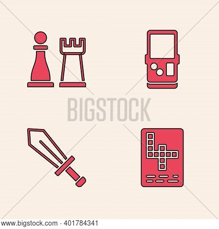 Set Crossword, Chess, Tetris And Sword For Game Icon. Vector