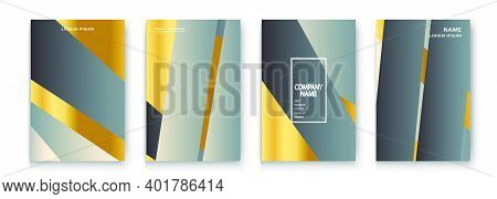 Luxurious And Rich Cover Vector Illustration Set, Golden Foil And Gold Lines. Grey Yellow Abstract B