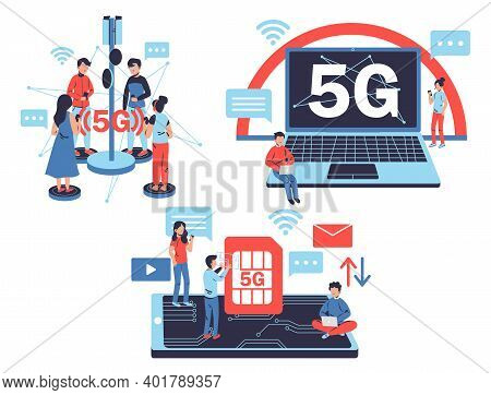 Set Of Man And Woman Use Gadget With 5g Connection. Speed Internet Broadband Fifth Hotspots Wifi. Ve
