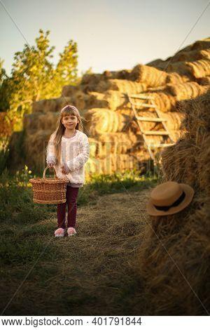 Cute Smiling Girl Runs Rustic Village With Wicker Basket, Long Blond Hair, Hayfield Wheat Hayloft Ha