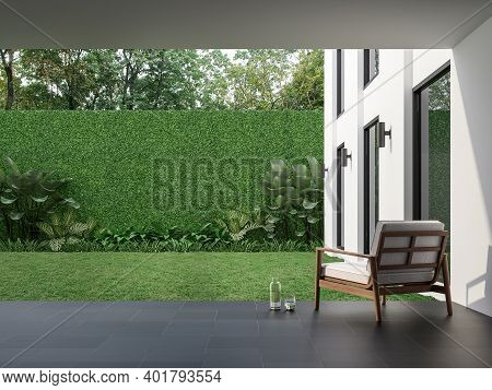 Modern Style Indoor Terrace With Garden Courtyard 3d Render, There Are Black Tile Floor , Green Plan