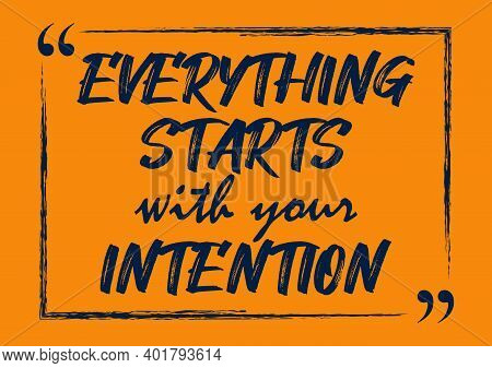 Everything Starts With Your Intention Inspirational Quote Business Style Card