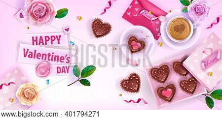 Valentines Day Love Romantic Vector Flat Lay Background With Pink Envelopes, Flowers, Roses, Coffee