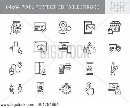 Click And Collect Service Line Icons. Vector Illustration With Icon - Online Shopping, Qr Code, Bask