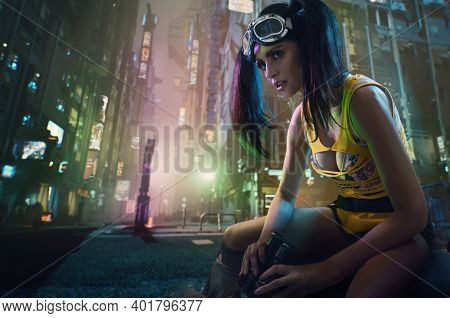 Cyberpunk style brunette beauty posing on a modern city center background