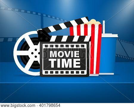 Movie Night Illustration. Cinema Poster Concept. Banner Design For Movie Theater.