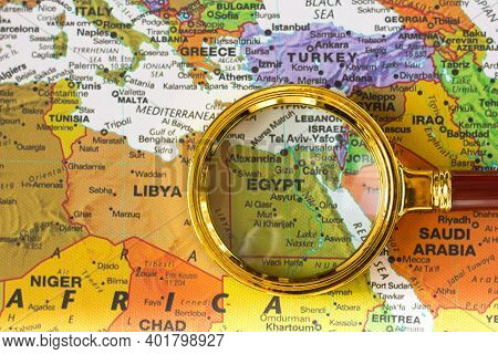 Lviv Ukraine - 25 11 2020 : Egypt, Red Sea On A Map Of Europe In A Defocused Magnifying Glass, The T