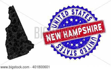 New Hampshire State Map Polygonal Mesh With Filled Triangles, And Distress Bicolor Seal. Triangle Mo
