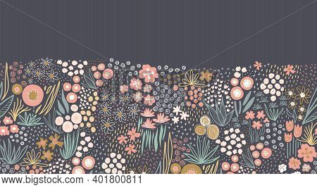 Flower Meadow Seamless Vector Border. A Lot Of Florals In Pink, Gold, White, Teal On Dark Background