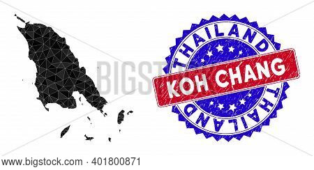 Koh Chang Map Polygonal Mesh With Filled Triangles, And Unclean Bicolor Stamp. Triangle Mosaic Koh C