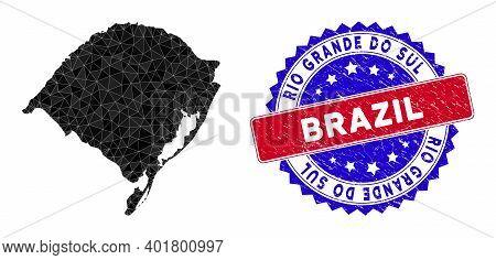 Rio Grande Do Sul State Map Polygonal Mesh With Filled Triangles, And Distress Bicolor Stamp Imitati