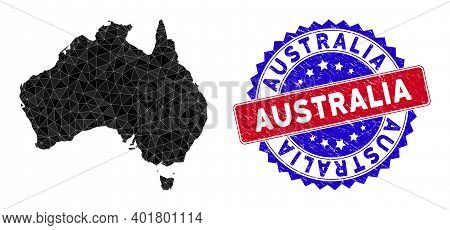 Australia Map Polygonal Mesh With Filled Triangles, And Distress Bicolor Stamp. Triangle Mosaic Aust