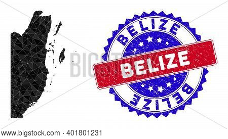 Belize Map Polygonal Mesh With Filled Triangles, And Scratched Bicolor Stamp Seal. Triangle Mosaic B
