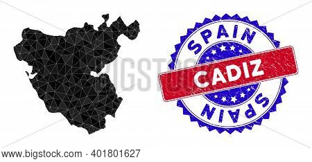 Cadiz Province Map Polygonal Mesh With Filled Triangles, And Rubber Bicolor Stamp Print. Triangle Mo