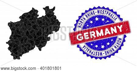 North Rhine-westphalia Land Map Polygonal Mesh With Filled Triangles, And Distress Bicolor Stamp Pri
