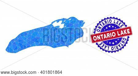 Ontario Lake Map Polygonal Mesh With Filled Triangles, And Textured Bicolor Stamp Seal. Triangle Mos