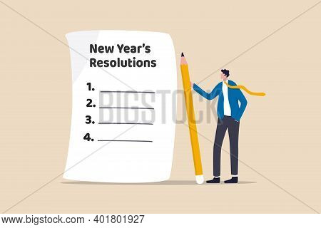 New Year's Resolutions, Set Goal Or Business Target For New Year Or Beginning With Work Challenge Co